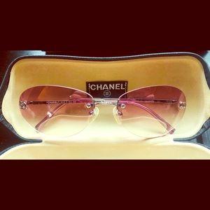 Authentic Chanel Sunglasses w/ pink ombré lenses